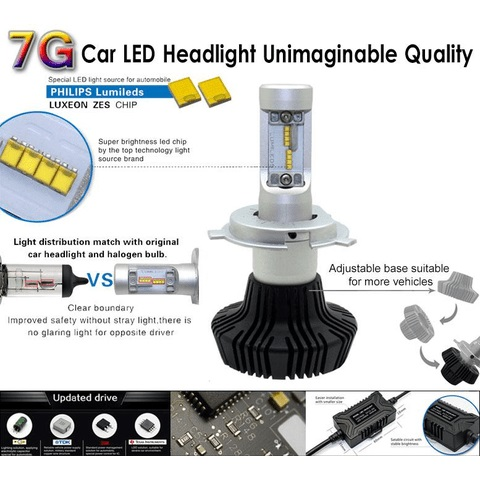Car LED Headlamp Kit UP-7HL-H1W-4000Lm (H1, 4000 lm, cold white) Preview 2